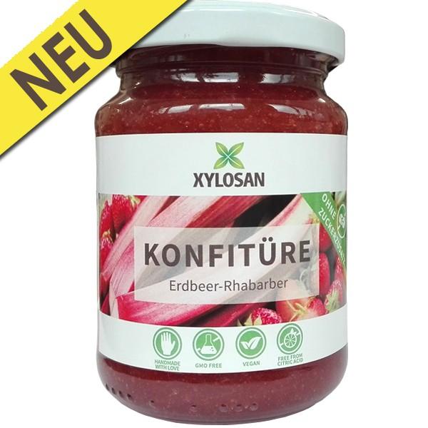 Erdbeer-Rhabarber Konfitüre (100% mit Xylit gesüsst)